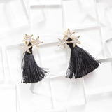 Shooting Star Tassel Ear Jackets Earrings Black Gold
