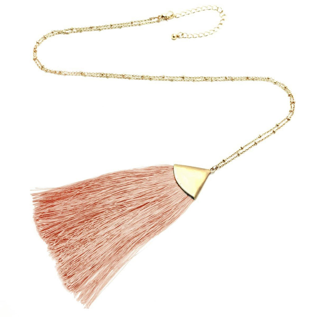 Fan Tassel Long Necklace Gold Beige