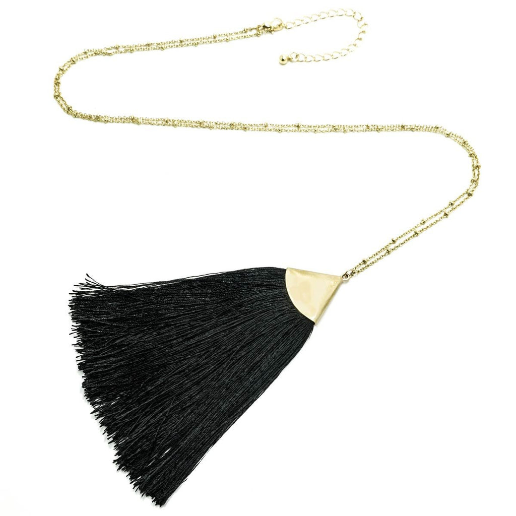 Fan Tassel Long Necklace Gold Black