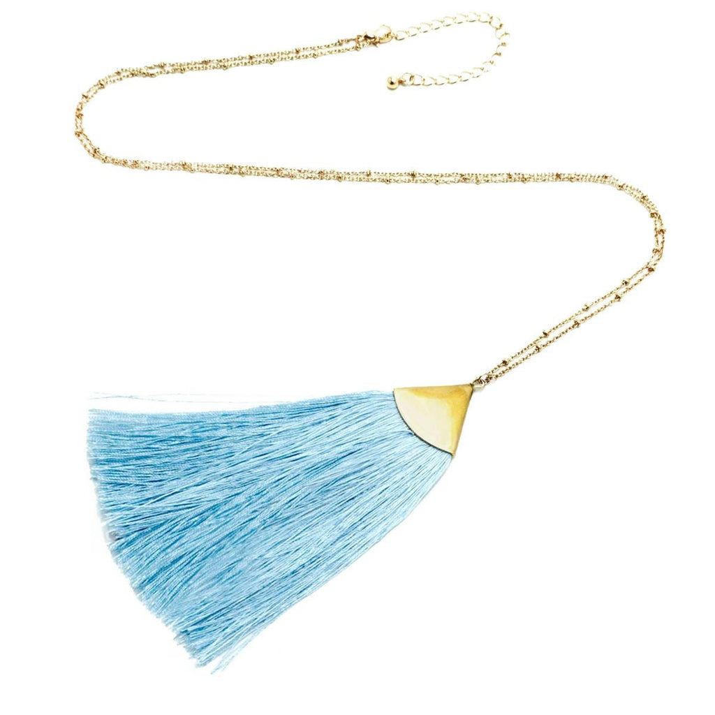 Fan Tassel Long Necklace Gold Sky Blue