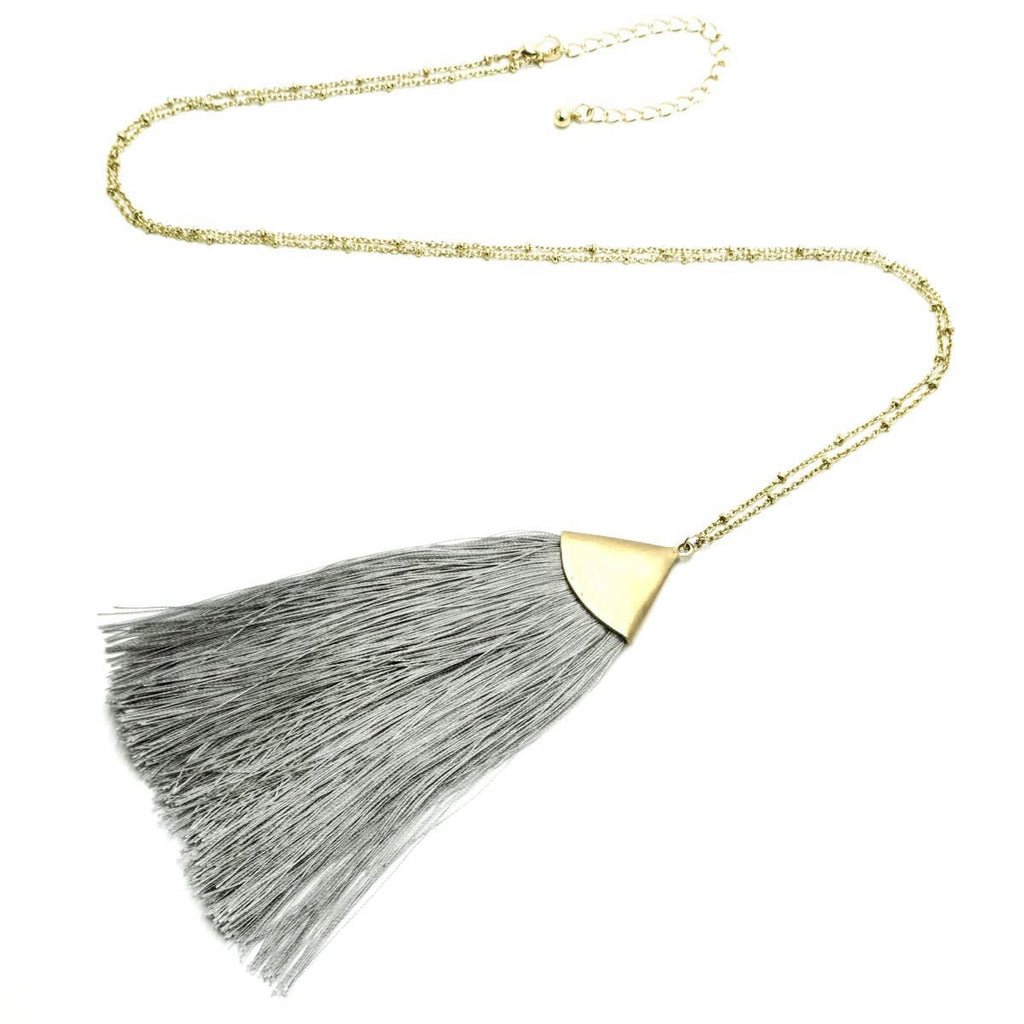 Fan Tassel Long Necklace Gold Grey