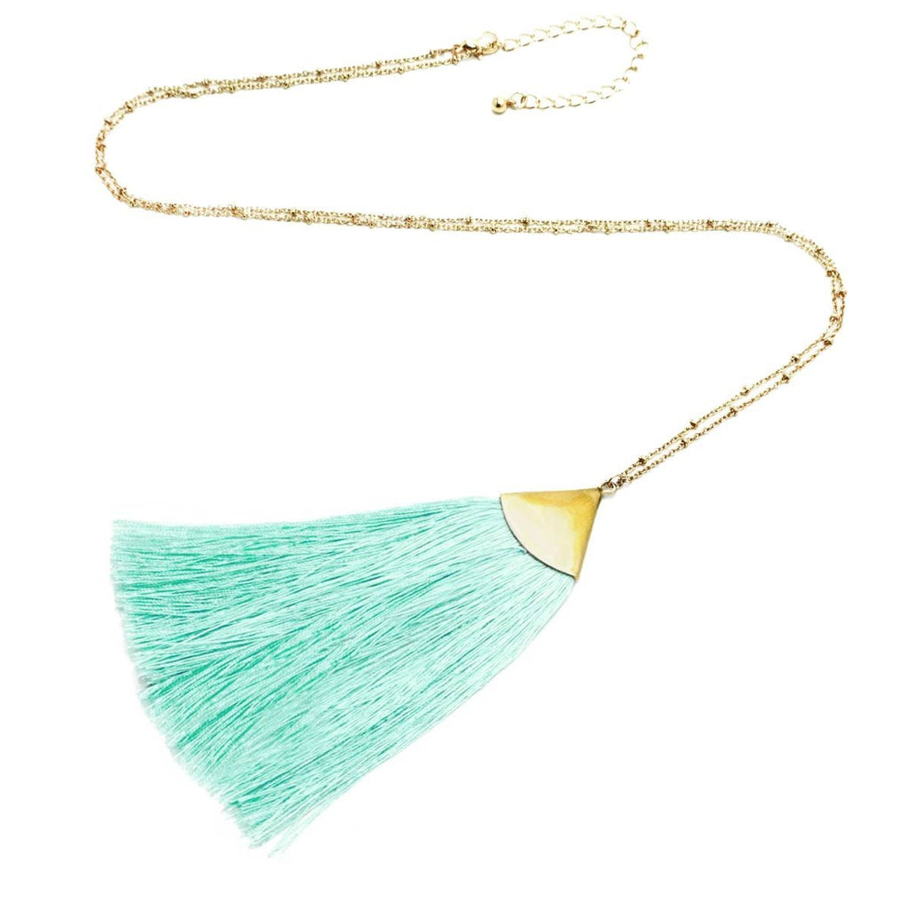 Fan Tassel Long Necklace Gold Mint