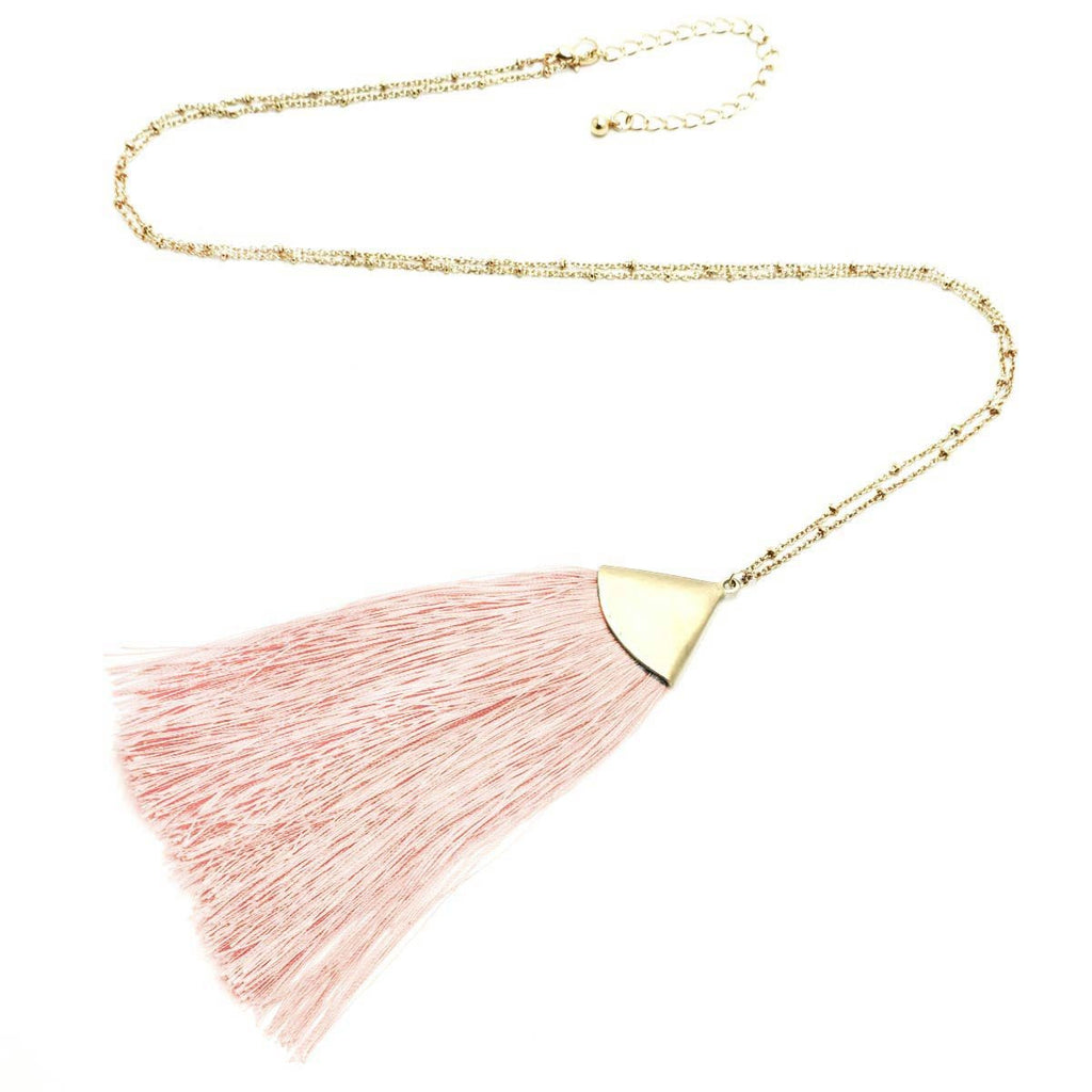 Fan Tassel Long Necklace Gold Light Pink
