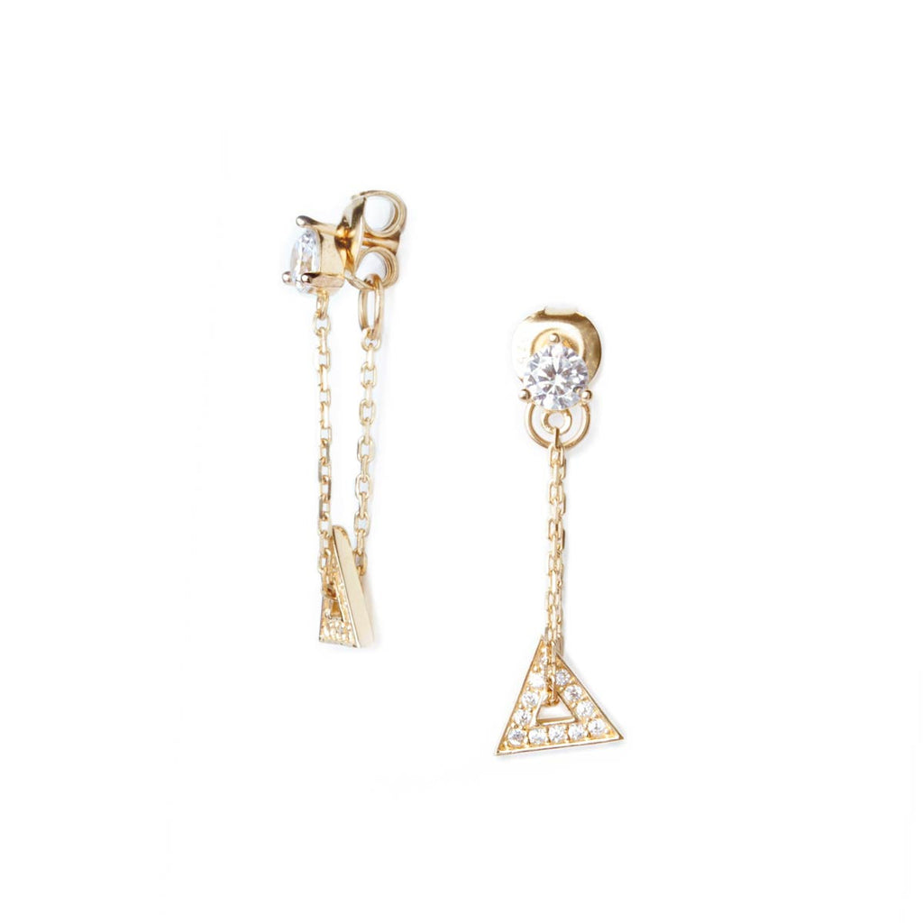 Floating Triangle Chain Loop Earrings Gold Plated