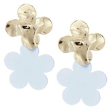 Gold Flower Power - Floral Coated Metal Dangle Earrings