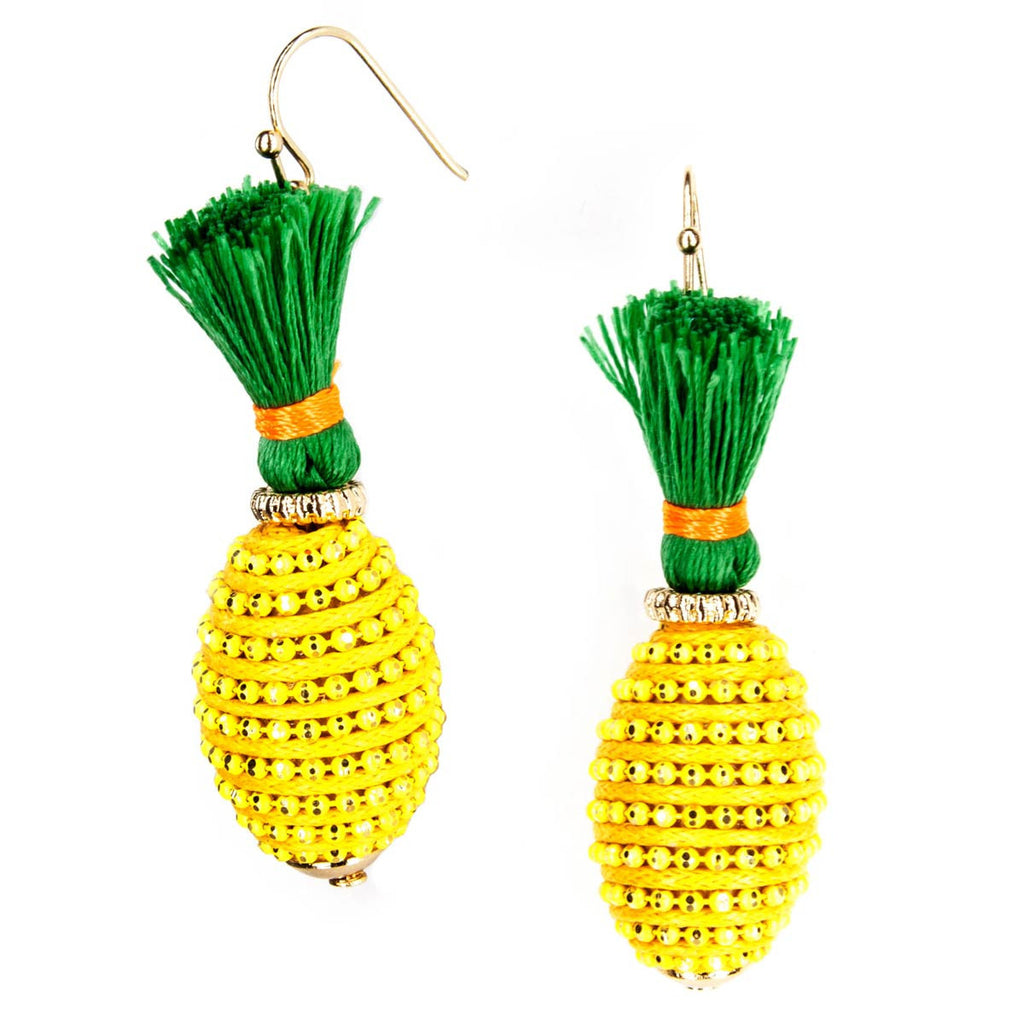 Tropical Fruit Dangle Earrings - Pineapple Yellow Tassel