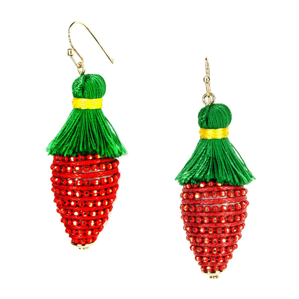 Tropical Fruit Dangle Earrings - Strawberry Red Green Tassel