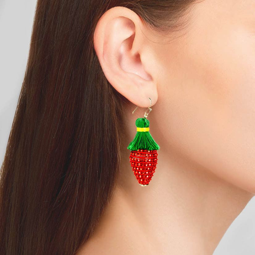 Tropical Fruit Dangle Earrings - Strawberry Red Yarn Green Tassel