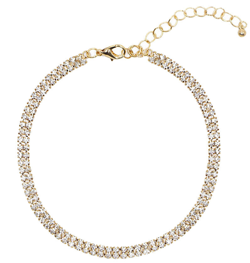 Gatsby Rhinestone Pave Choker Gold with Cubic