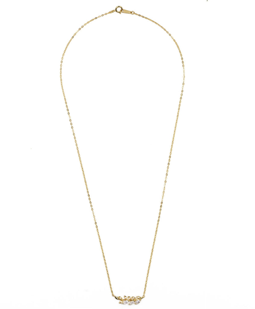 Crystal Laurel Leaf Necklace Gold