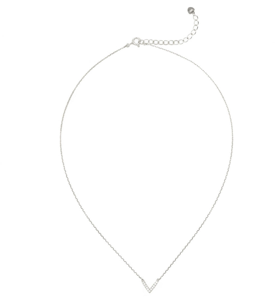 Paved V Delicate Necklace Silver