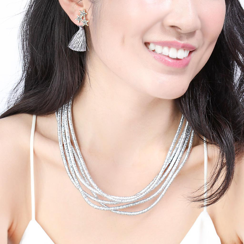 Shooting Star Tassel Ear Jackets Earrings Silver Model