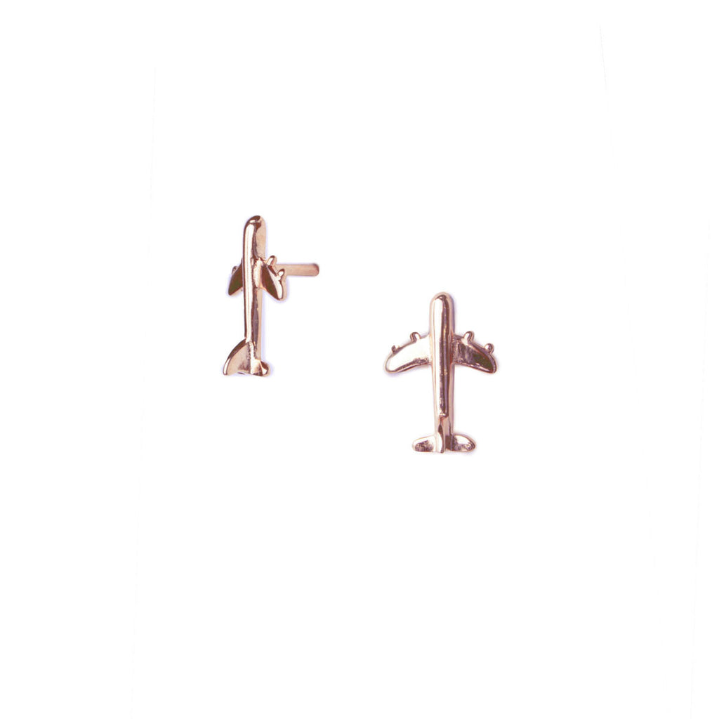 Tiny Airplane Studs Rose Gold Plated