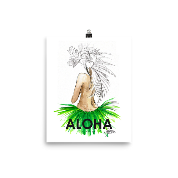 Aloha Hula Girl Illustration Poster