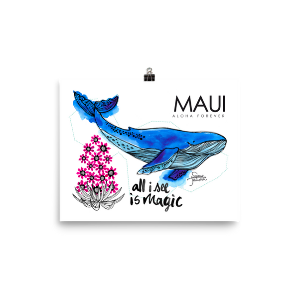 Maui Illustration Poster