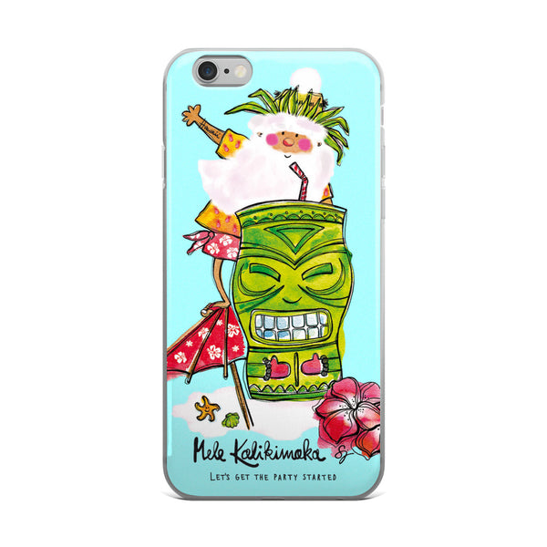 Tiki Santa Aqua - iPhone Case
