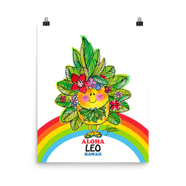 Aloha Leo! Illustrated Pineapple Zodiac Poster