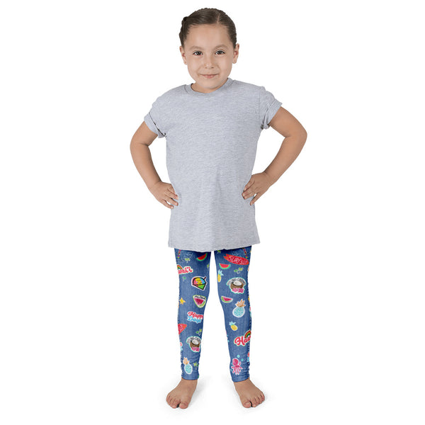 Kid's leggings - Aloha patches Denim Look Leggings