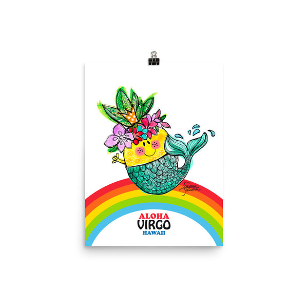 Aloha Virgo! Illustrated Pineapple Zodiac Poster