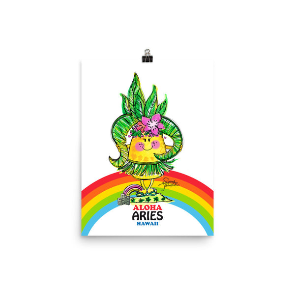 Aloha Aries! Illustrated Pineapple Zodiac Poster
