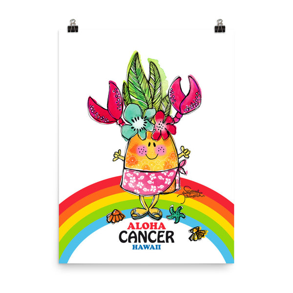 Aloha Cancer! Illustrated Pineapple Zodiac Poster
