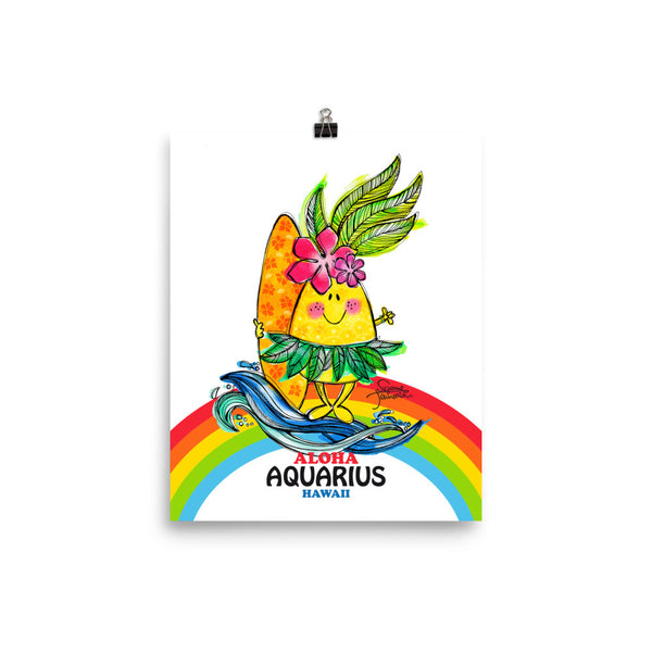 Aloha Aquarius! Illustrated Pineapple Zodiac Poster