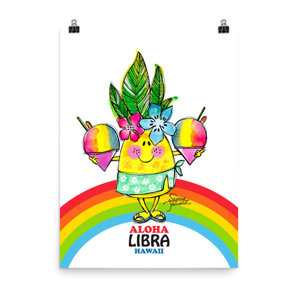Aloha Libra! Illustrated Pineapple Zodiac Poster