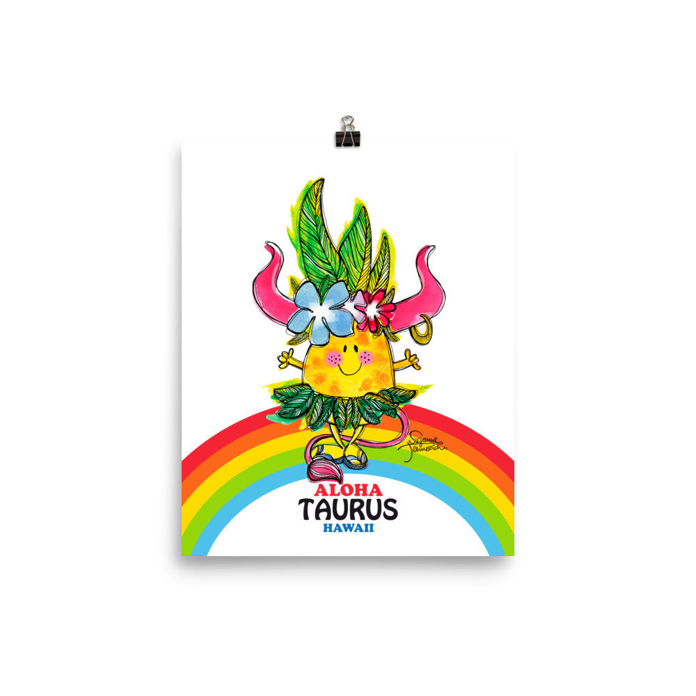 Aloha Taurus! Illustrated Pineapple Zodiac Poster