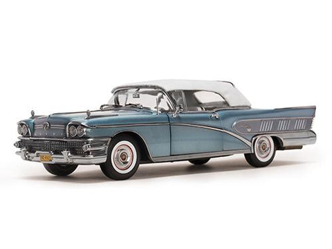 Diecast 1958 Buick Ltd. Closed Convertible Blue or Silver Mist Platinum Edition 1/18