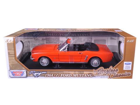 Diecast 1964 1/2 Ford Mustang convertible Orange 1/18th Timeless Classic