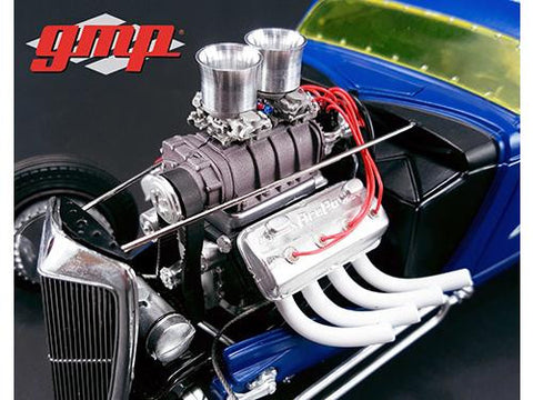 Diecast Blown Altered Drag Engine and transmission replica from 1934 coupe 1/18th