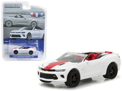 Diecast Chevy Camaro Convertible 2017, Summit White w/ red stripes , 1/64th