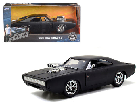 Diecast Dom's 1970 Dodge Charger R/T, matte black Fast & Furious movie 7, 1/24th