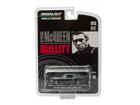 Diecast Ford Mustang 1968 GT Fastback , green, Bullitt movie, 1/64th