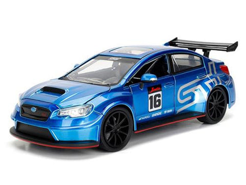 Diecast Subaru WRX STI widebody #16 JDM Tuners 1/24 in Blue, silver, red, or matt grey