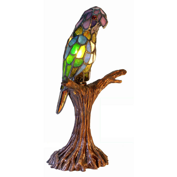 Tiffany-style Parrot Accent Lamp - 3268+BB925