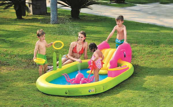 "117"" Ocean Life Themed Inflatable Children's Play Pool with Slide, JL097009NPF"