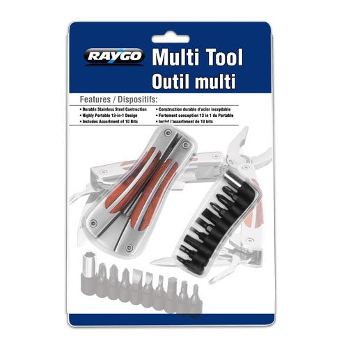 Raygo Multi-Function 13 in 1 Multi-Tool - Stainless Steel & Wood (R12-40831)
