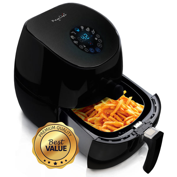 MegaChef 3.5 Quart Airfryer And Multicooker With 7 Pre-programmed Settings in Sleek Black - MCAI-320