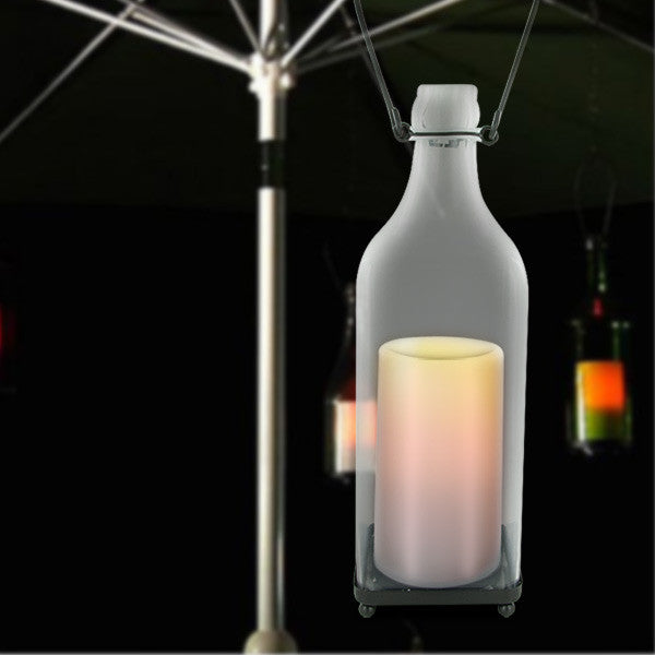 HomeReflections Indoor/Outdoor Glass Square Bottle w/ Flameless Candle & Timer