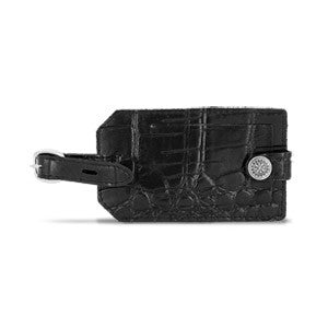 Travel Smart Embossed Genuine Leather Luggage Tag (Black)
