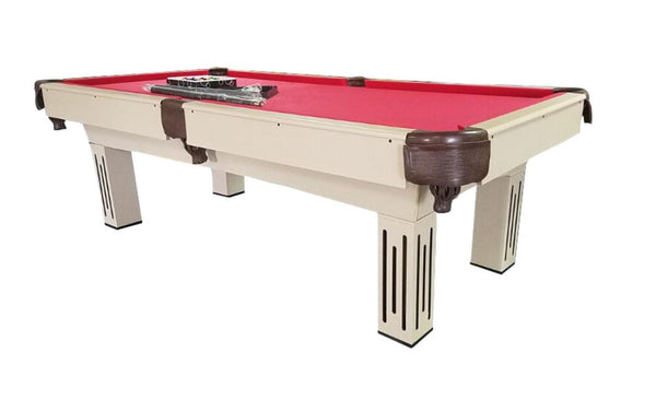 8' x 4.3' Beige  Brown and Red Billiard and Pool Game Table, KBP-8003-8