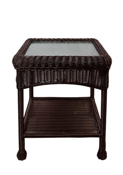 "22"" Brown Resin Wicker Outdoor Patio Side Table with Glass Top and Storage Shelf,  BOI-95918GSTBN"