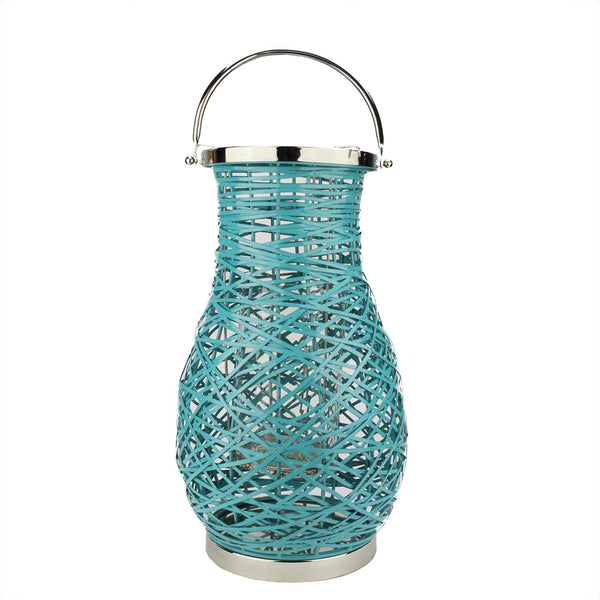 "18.5"" Modern Turquoise Blue Decorative Woven Iron Pillar Candle Lantern with Glass Hurricane"