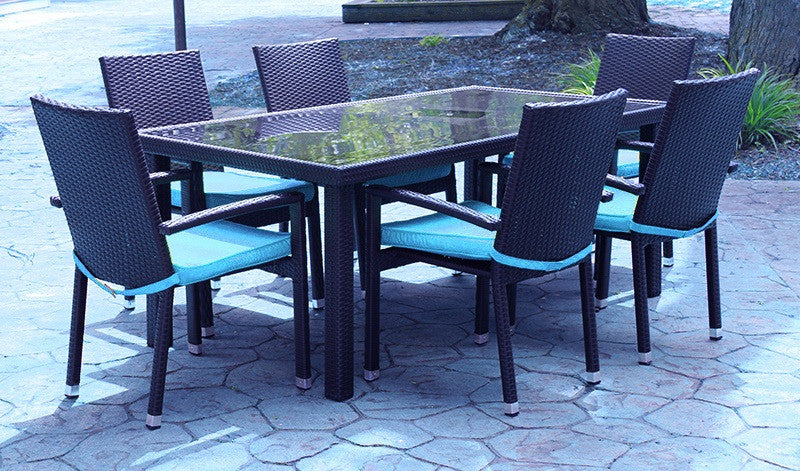 7 Piece Black Resin Wicker Outdoor Furniture Patio Dining Set   Blue  Cushions, TAD09010