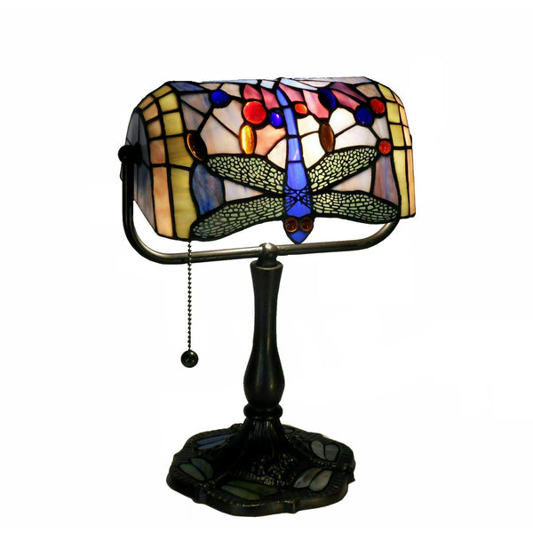 Indoor 1-light Dragonfly Bronze Banker Desk Lamp, GB06+KS11B