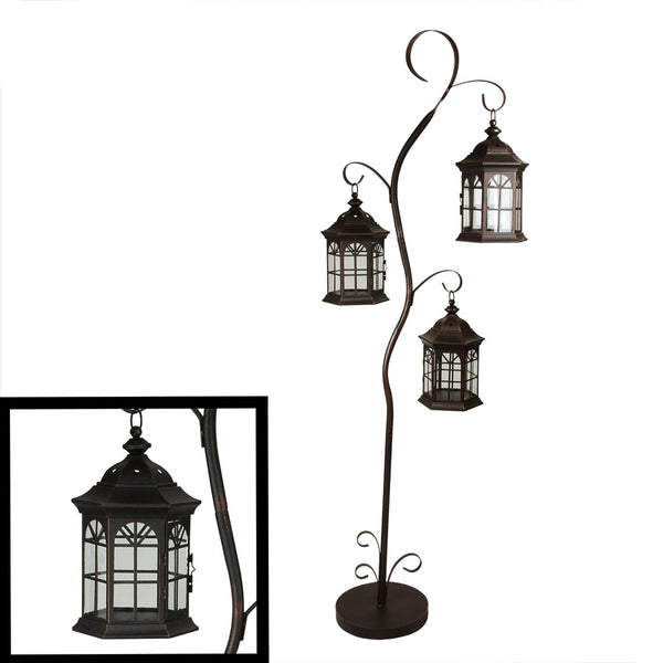 "60"" Rustic Weathered Copper Brown Pillar Candle Holder Tree with 3 Decorative Lanterns, XF78574"