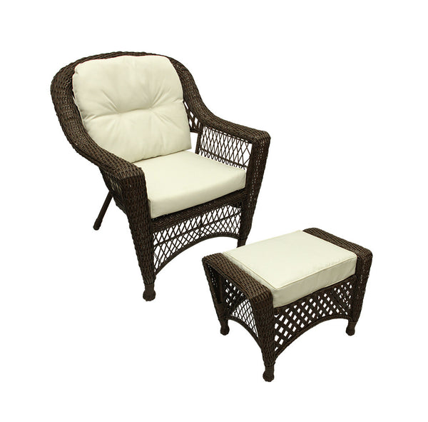 2-Pc Somerset Dark Brown Resin Wicker Patio Chair & Ottoman Furniture Set - Cream Cushions
