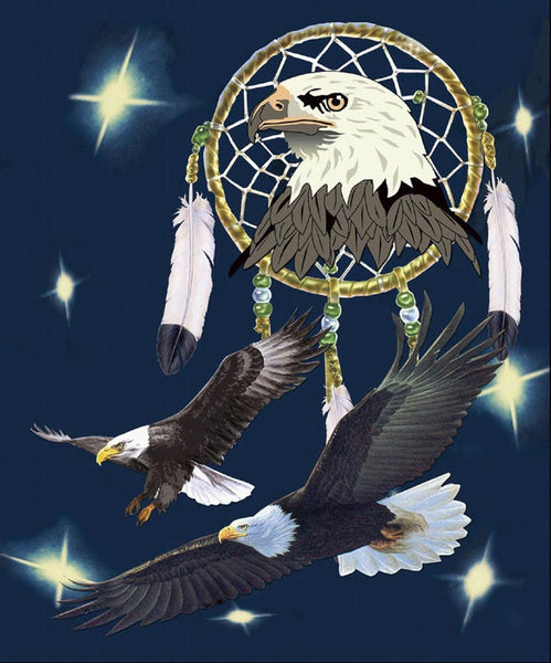 Mink Style Queen Size Blanket, Eagle With Dream Catcher, Q929