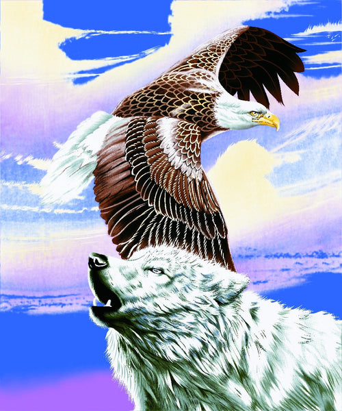 2 Ply, Mink Style Queen Size Blanket, Eagle with Wolf, Q8943